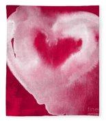 Hot Pink Heart Fleece Blanket by Linda Woods