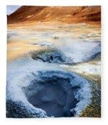 Hot Springs At Namaskard In Iceland Fleece Blanket
