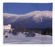 Hotel Near Snow Covered Mountains, Mt Fleece Blanket