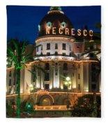 Hotel Negresco By Night Fleece Blanket