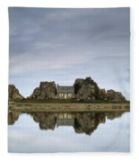 House In Between Rocks Reflected Fleece Blanket
