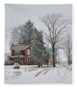 House In Winter Fleece Blanket
