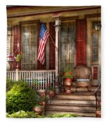 House - Porch - Belvidere Nj - A Classic American Home  Fleece Blanket