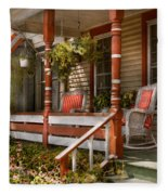House - Porch - Traditional American Fleece Blanket
