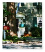 House With Turquoise Shutters Fleece Blanket