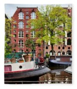 Houseboats And Houses On Brouwersgracht Canal In Amsterdam Fleece Blanket