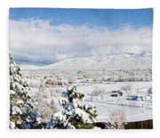 Houses And Trees Covered With Snow Fleece Blanket