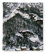 Houses In A Village In Winter, Tasch Fleece Blanket