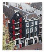 Houses In Amsterdam From Above Fleece Blanket