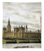 Houses Of Parliament On The Thames Fleece Blanket