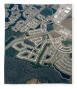 Housing Development Near Wetland Fleece Blanket