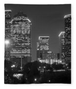 Houston Skyline At Night Black And White Bw Fleece Blanket