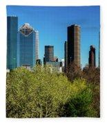 Houston Skyline, Houston, Texas Fleece Blanket