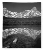 1m3643-bw-howse Peak Mt. Chephren Reflect-bw Fleece Blanket