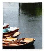 Hoyt Lakes Rowboats In Delaware Park Buffalo Ny Oil Painting Effect Fleece Blanket