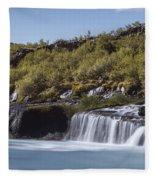 Hraunfossar Iceland 9 Fleece Blanket