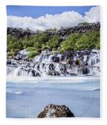 Hraunfossar Iceland Fleece Blanket