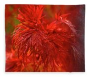 Hubble Galaxy With Red Maple Foliage Fleece Blanket