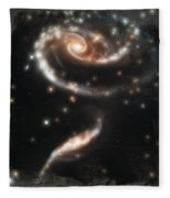 Hubble - Rose Made Of Galaxies Fleece Blanket