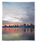 Hudson River Sunrise Nyc Fleece Blanket
