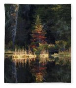 Huff Lake Reflection Fleece Blanket
