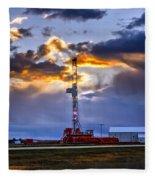 Sunset Over The Oil Rigs Fleece Blanket