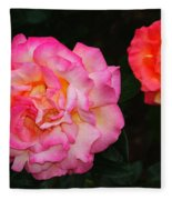 Huge Pink And White Rose...   # Fleece Blanket