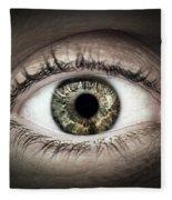 Human Eye Macro Fleece Blanket