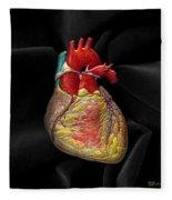 Human Heart On Black Velvet Fleece Blanket