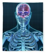 Human Skeleton And Brain, Artwork Fleece Blanket