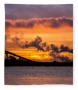 Humboldt Bay Industry At Sunset Fleece Blanket