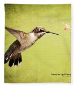 Humming Bird In Flight Fleece Blanket