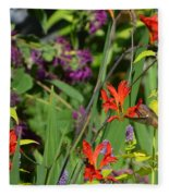 Hummingbird And Crocosmia Lucifer Fleece Blanket