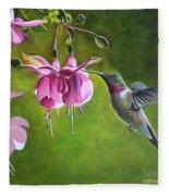 Hummingbird And Fuschia Fleece Blanket