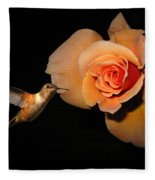 Hummingbird And Orange Rose Fleece Blanket