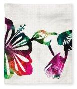 Hummingbird Art - Tropical Chorus - By Sharon Cummings Fleece Blanket