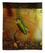 Hummingbird At The Pond Fleece Blanket