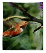 Hummingbird Dreams Digital Art Fleece Blanket