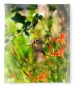 Hummingbird In The Daylilies Fleece Blanket