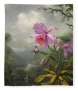 Hummingbird Perched On The Orchid Plant Fleece Blanket