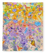 Hummingbird Spring Fleece Blanket