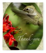 Hummingbird Thanks Fleece Blanket