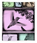 Hummingbirds In Old Frames Collage Fleece Blanket