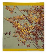 Hummingbirds On Yellow Tree Fleece Blanket