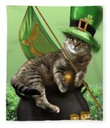 St. Patrick's Day Irish Cat Sitting On A Pot Of Gold Fleece Blanket by Regina Femrite
