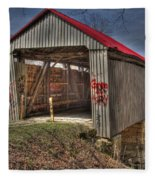 Artistic Humpback Covered Bridge Fleece Blanket