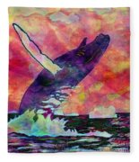 Humpback Whale Digital Color Fleece Blanket