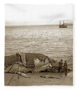 Humpback Whale On A Monterey Beach California  Circa 1896. Fleece Blanket
