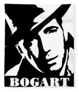 Humphrey Bogart Black And White Pop Art Fleece Blanket
