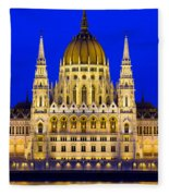 Hungarian Parliament At Twilight Fleece Blanket